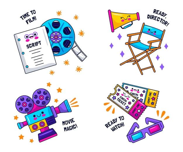 Kawaii filmliefhebbers stickers collectie