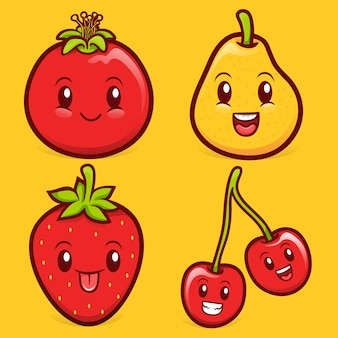 Kawaii fruit karakter illustratie collectie