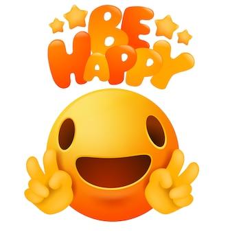 Kawaii gele emoji glimlach gezicht stripfiguur. wees blij wenskaart