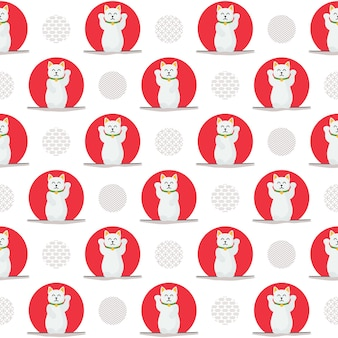 Kawaii gelukkige kat naadloze patroon
