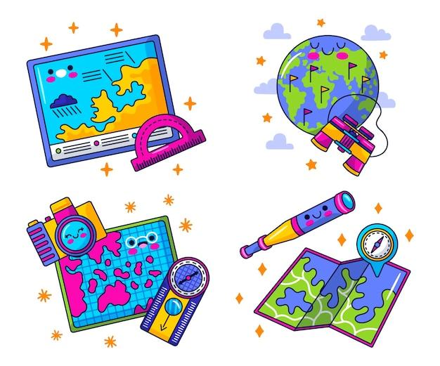 Kawaii geografie stickers collectie