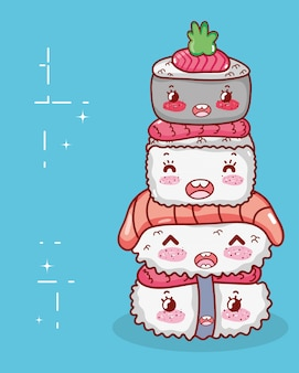 Kawaii gestapelde sushi eten japanse cartoon, sushi en broodjes