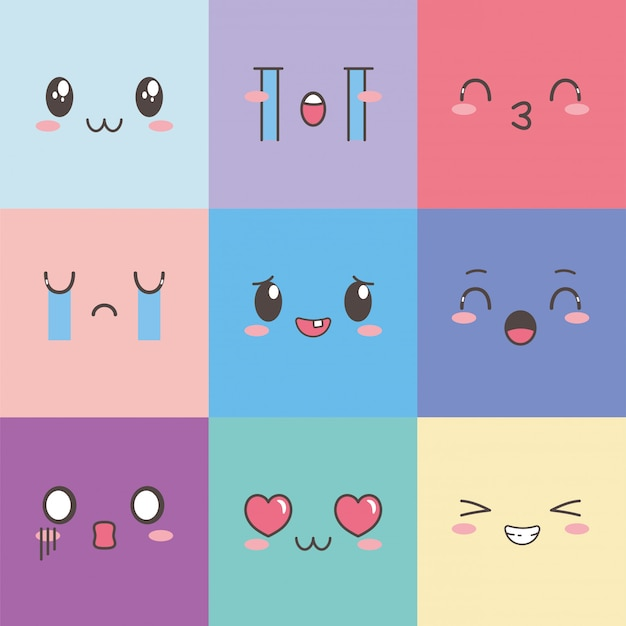 Kawaii gezichten expressie cartoon emoticon vierkante kleurenset