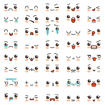Kawaii glimlach cartoon emoticons en emoji gezichten vector iconen
