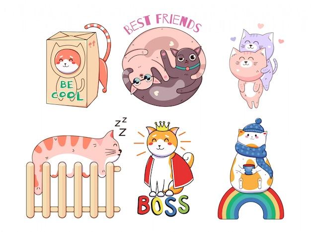 Kawaii grappige kattenstickers. afdrukken op t-shirts, sweatshirts, hoesjes voor mobiele telefoons, souvenirs, scrapbooking-elementen. illustratie