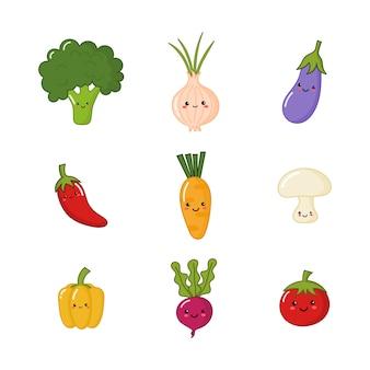 Kawaii groente geïsoleerd