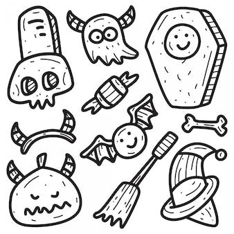 Kawaii halloween doodle s sjabloon