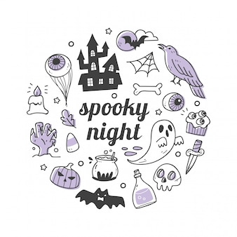 Kawaii halloween-object in doodle stijl