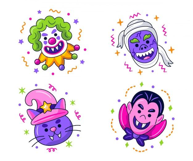Kawaii halloween-stickerscollectie