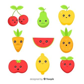 Kawaii hand getrokken fruitcollectie
