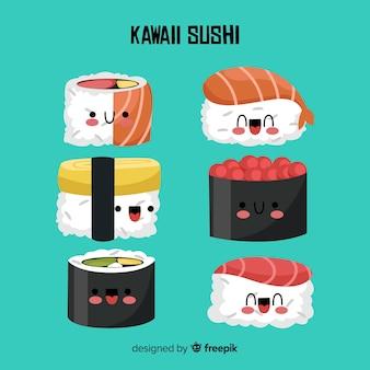 Kawaii hand getrokken sushi-collectie