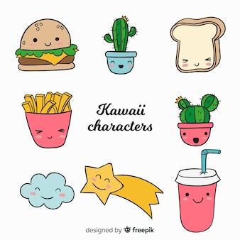 Kawaii hand getrokken voedselverzameling