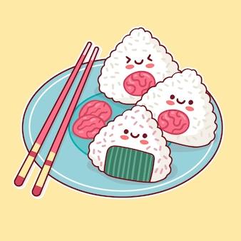 Kawaii heerlijk japans umeboshi onigiri-eten Gratis Vector