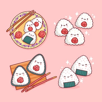 Kawaii heerlijke japanse umeboshi onigiri-collectie