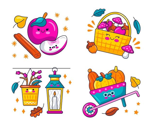 Kawaii herfst stickerscollectie