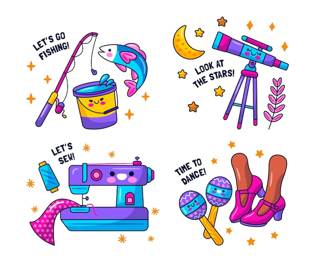 Kawaii hobby stickers collectie