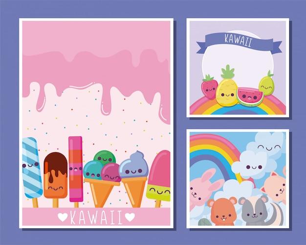 Kawaii icon set tekenfilms