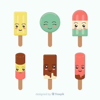 Kawaii ijs karakter collectie