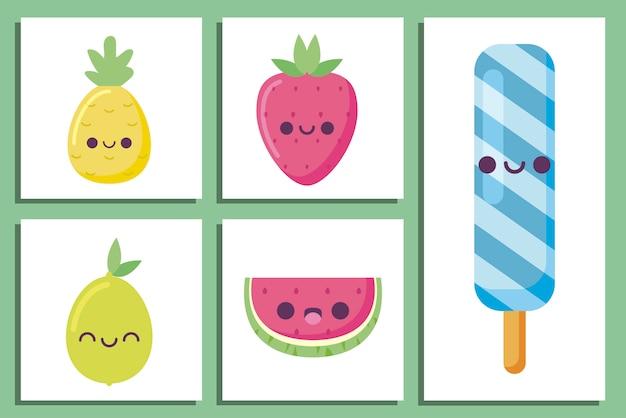 Kawaii ijslolly en fruit tekenfilms
