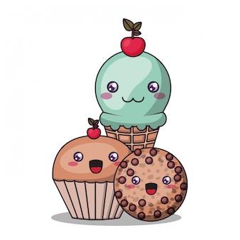 Kawaii-ijsmuffin cupcake en koekjebeeldverhaalillustratie