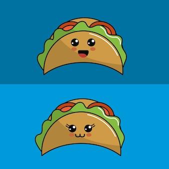 Kawaii ingesteld taco's pictogram met prachtige uitdrukkingen
