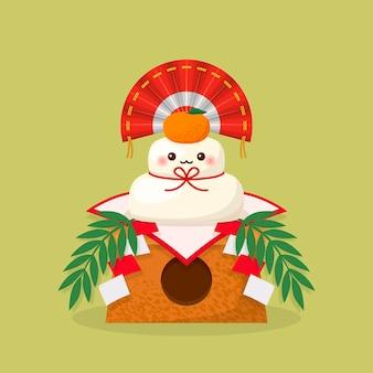 Kawaii kagamimochi illustratie
