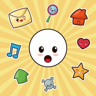 Kawaii karakter emoticon sociale media