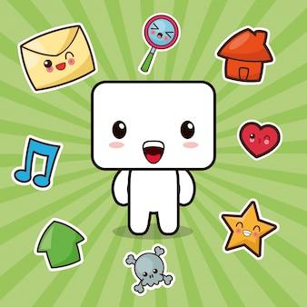 Kawaii karakter sociale media iconen