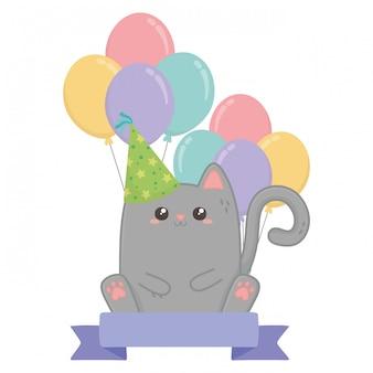 Kawaii kat en gelukkige verjaardag