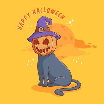 Kawaii kat met pompoen hoofd stripfiguur voor halloween uitnodigingskaart poster of banner