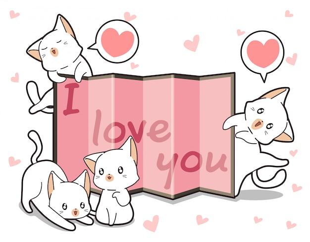 Kawaii katten en gordijn met woord
