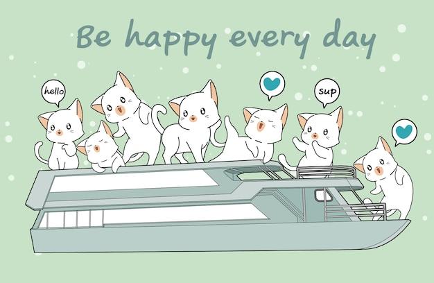 Kawaii katten in de veerboot