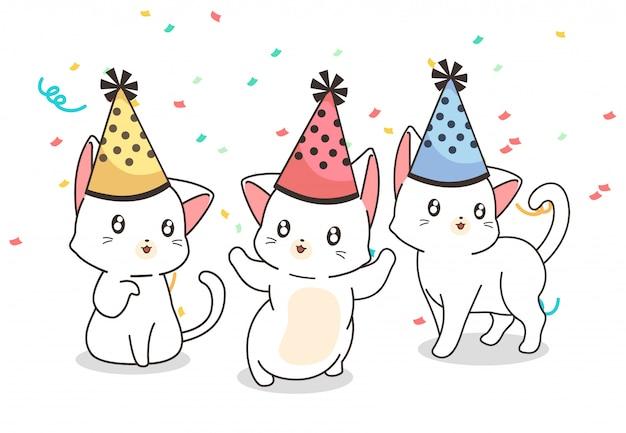 Kawaii katten in het feest
