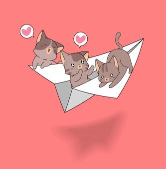 Kawaii katten op papieren vliegtuigje