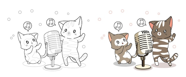 Kawaii katten zingen cartoon kleurplaat