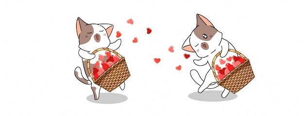 Kawaii kattenfiguren verspreiden harten