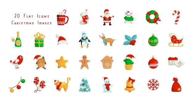 Kawaii kerst plat pictogrammen - santa claus, kalender, geschenkdoos, kerstboom