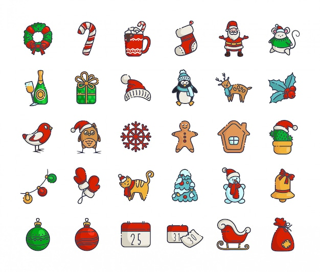 Kawaii kerstpictogrammen nieuw jaar overzicht santa claus, geschenkdoos, kerstboom, peperkoek