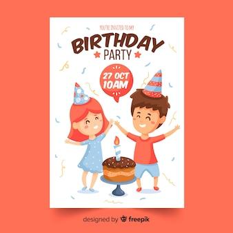Kawaii kinder verjaardag uitnodiging sjabloon
