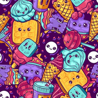 Kawaii kleurrijke naadloze patroon. cartoon stijl doodle sweety karakter. emotioneel gezicht icoon candy shop. hand getrokken illustratie geïsoleerd op een witte achtergrond