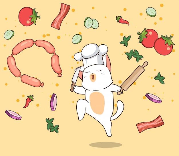 Kawaii kok chef kat karakter