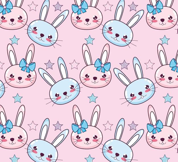 Kawaii konijnen achtergrond