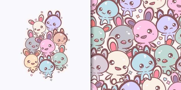 Kawaii konijntjes en katten afdrukken en naadloos patroon