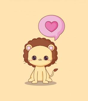 Kawaii leeuw en hart