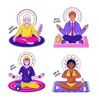 Kawaii meditatie stickers collectie