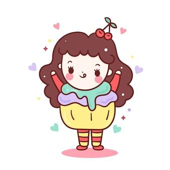 Kawaii meisje cupcake lekker eten vector