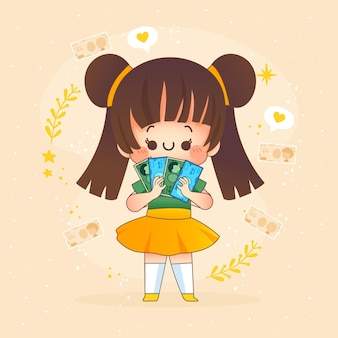 Kawaii meisje yen geld te houden