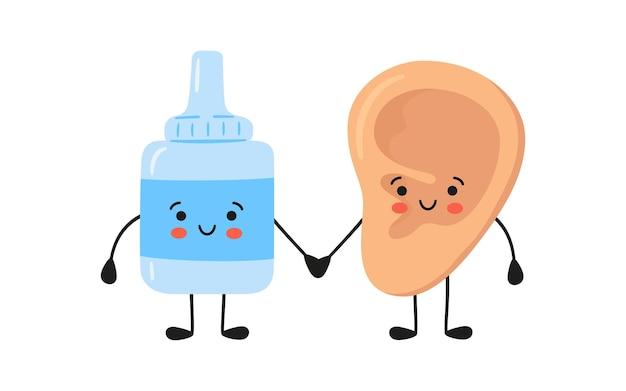 Kawaii menselijk oor en medische druppels karakters. geneeskunde voor de gezondheid van de oren. behandeling van otitis media en andere ziekten. vectorillustratie geïsoleerd op een witte achtergrond in de hand getekende stijl