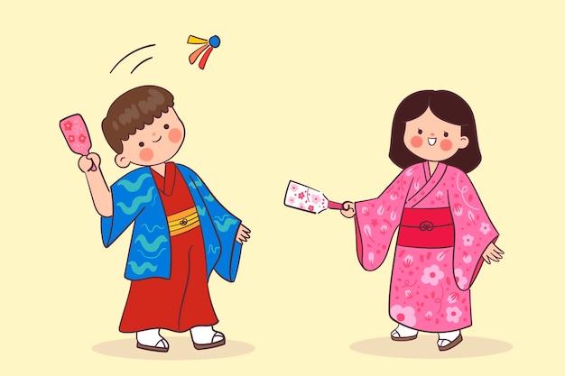 Kawaii mensen die hanetsuki spelen