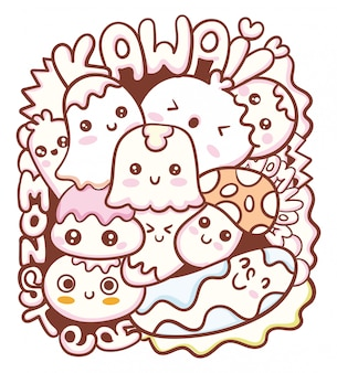 Kawaii monster doodle kunst
